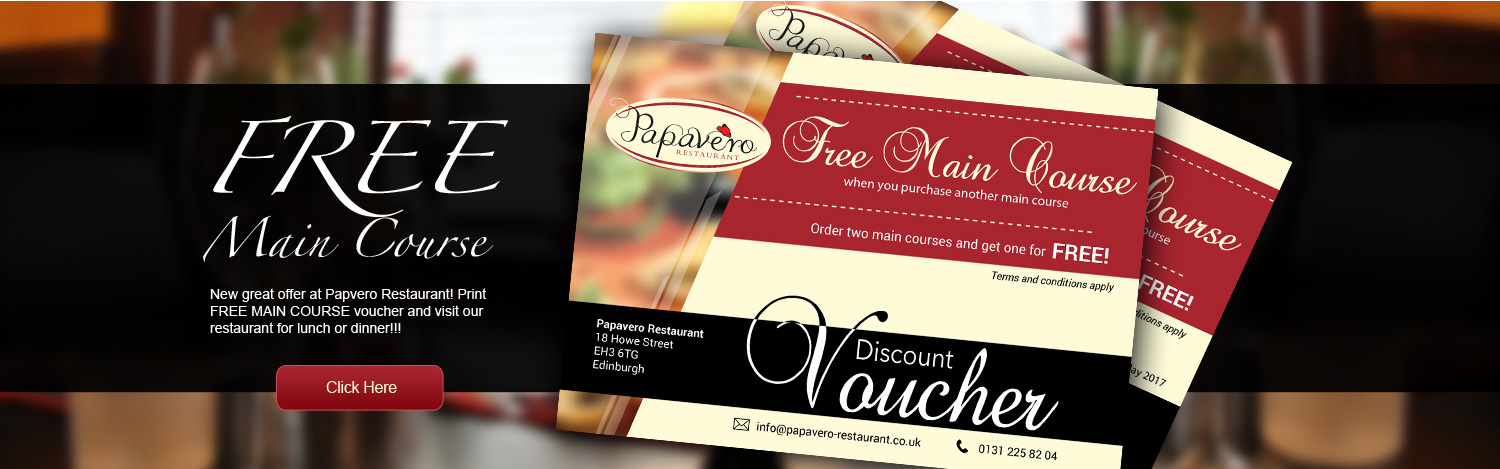 Free Main course at papaevero restaurant